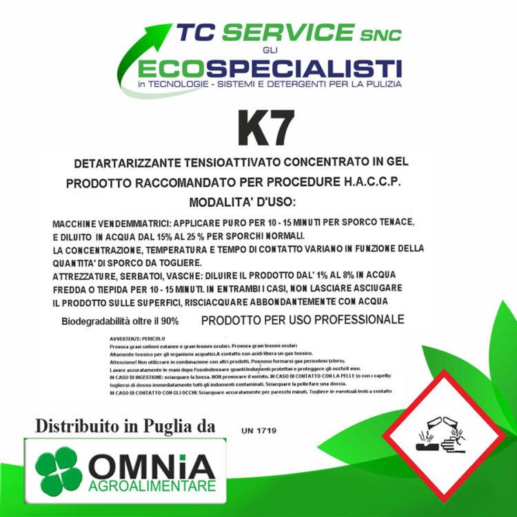 k7 detergente distribuito in puglia da omnia agroalimentare puglia bari